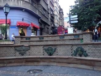"""Fountain in Skadarlija, Belgrade's """"Bohemian Quarter."""""""